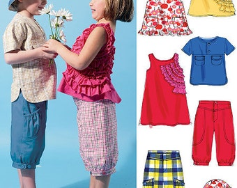 SUMMER CLOTHES PATTERN / Boys Shirt - Hat Pants / Grils Top - Dress - Pants - Hat / Sizes 1-3 or 4-6