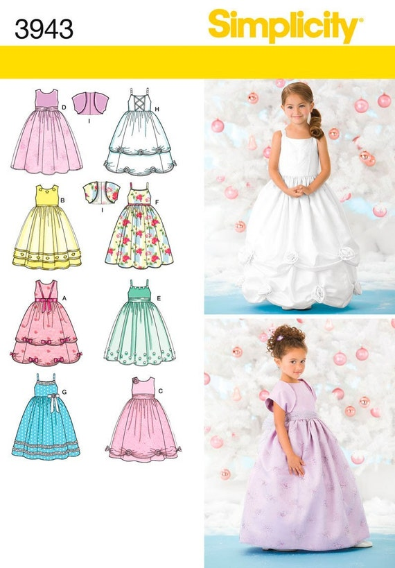 FLOWER GIRL PATTERN / Retired / Fancy Dress With Bolero In Sizes 3 To 6