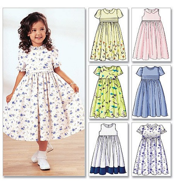 GIRLS DRESS PATTERN / Many Styles in Sizes 2 To 5 or 6 To 8 / Sundress