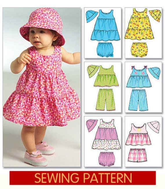 Baby Sundress Pattern With Ruffled Skirt And Bucket Hat