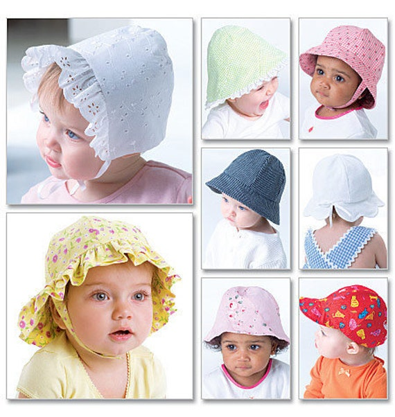 BABY HAT PATTERN / Infant Girl Bonnets in Eight Styles and Fives Sizes