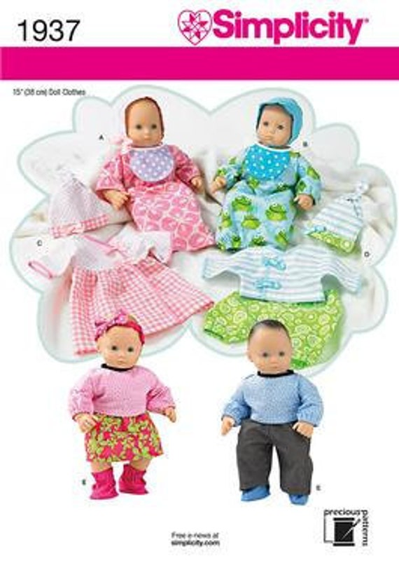 BABY DOLL PATTERN  Make Clothes for 15 Inch Dolls / Bitty Baby and Bitty Twins / Outfits for Boy Dolls