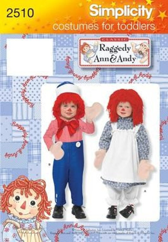 toddler costume pattern    raggedy ann and andy by