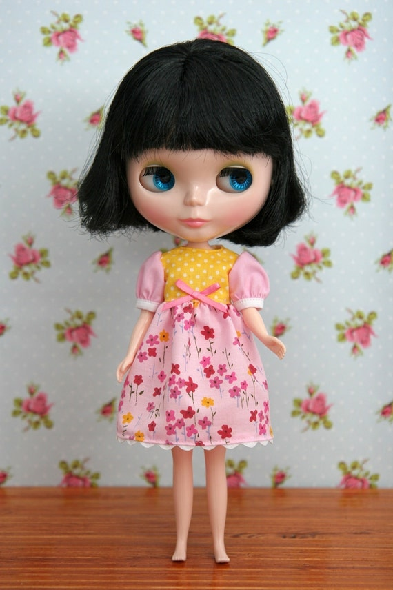 Dress for Blythe (pink & yellow)