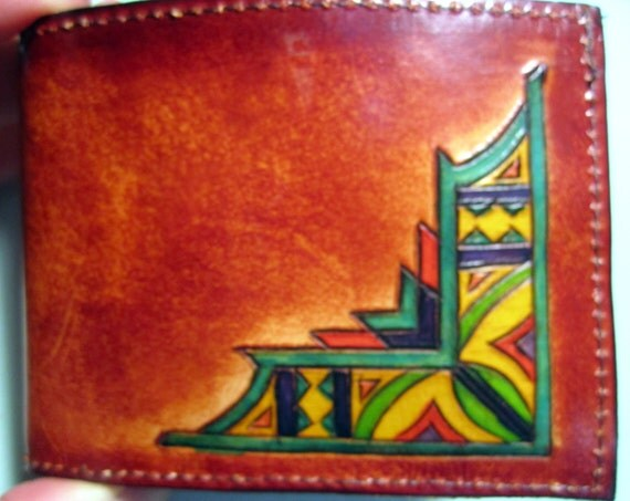 Leather Single Fold Wallet with Hidden Pocket Nice Hand Carved Design