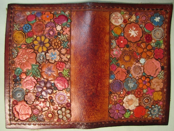 Burnished Medium Brown Card Wallet with Many Multicolored Flowers