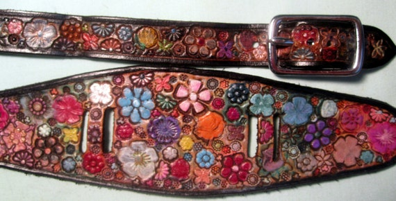 IPod Nano Made in GA USA Leather Watch Band or Wrist Band Cuff with Flower Garden Design and Black Border Custom Sized