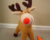Hand Knitted Alan Dart Caramel Christmas Rudolf the Red Nose Reindeer with knitted carrots plush Toy Doll