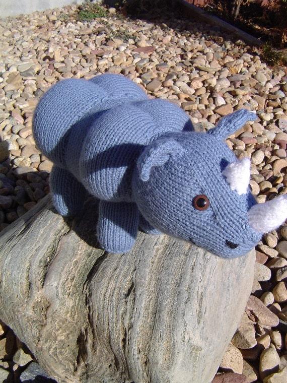 Rhino plushy animal knit  zoo toddler Toy