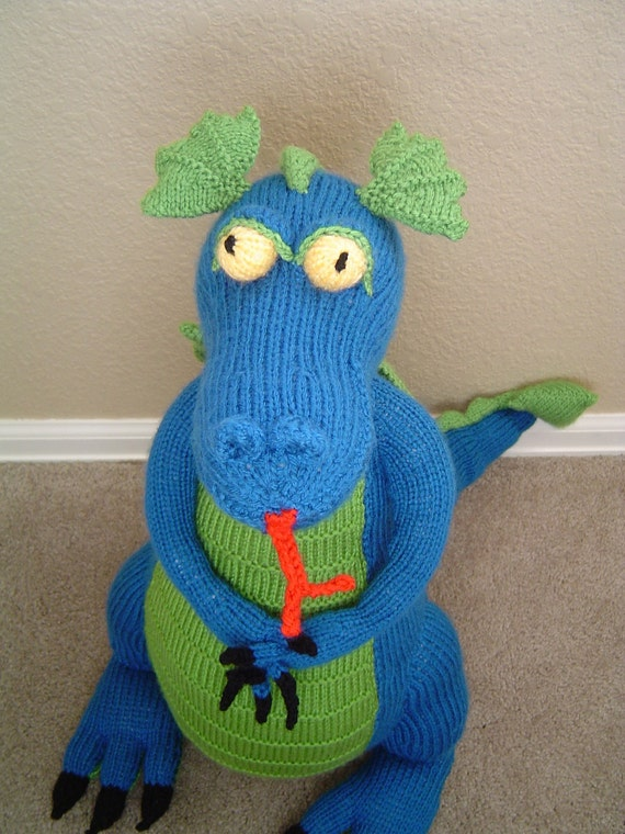 Large  blue green dragon plush toy knit