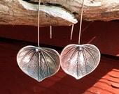 Dangling Leaf earrings - fine silver
