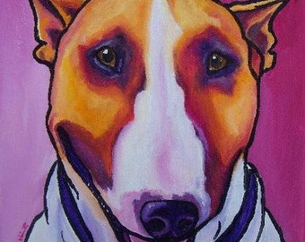 Colored Bull Terrier 12x12 PRINT