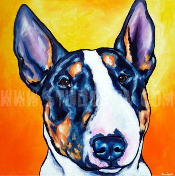 English Bull Terrier print 12x12
