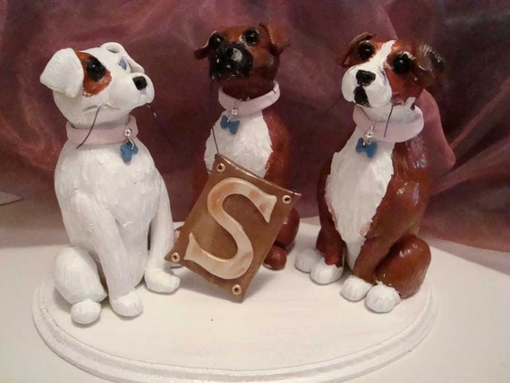 custom wedding cake toppers with dogs custom made boxer wedding cake topper reserved for 13262