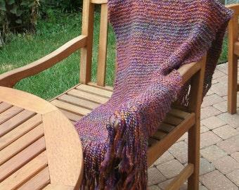 Hand Knit Shawl - Prayer Shawl in Fiesta - Wrap - Fall Accessories - Winter Accessories - Weddings - Prom
