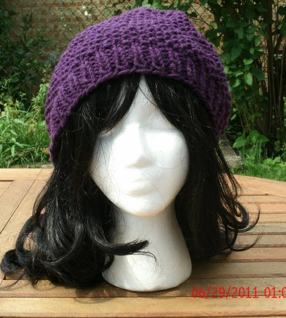 Knit Hat - The Preppie in Purple - Hand Knit Hat Handmade hat - Unisex Hat - Womens Hat