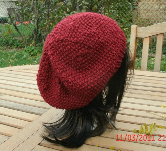 Hand Knit Hat - Preppie in Cranberry - Women's Hat - Fall, Winter, Spring Accessories - Womens Knit hat