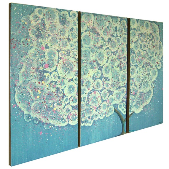 Original Mixed Media Painting - 10X20 Triptych - Pink Petals from a Flowering Tree