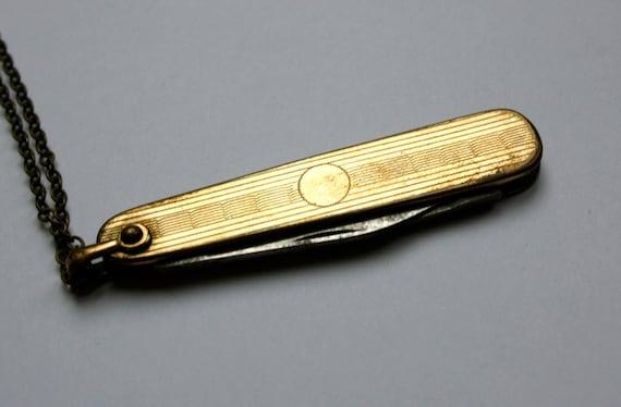 sale-VINTAGE TINY KNIFE victorian gold filled antique knife necklace