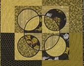 "Art Quilt - ""Converging Circles and Squares"""