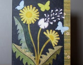 Art Quilt Note Card - Dandelion Love