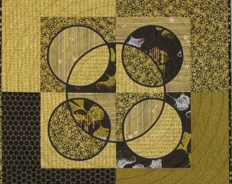 "Art Quilt - ""Converging Circles and Squares"""