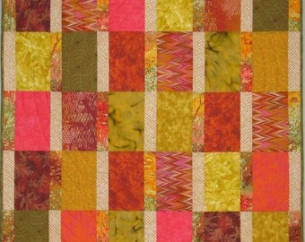 "Modern Art Quilt - ""Colors of Autumn"""
