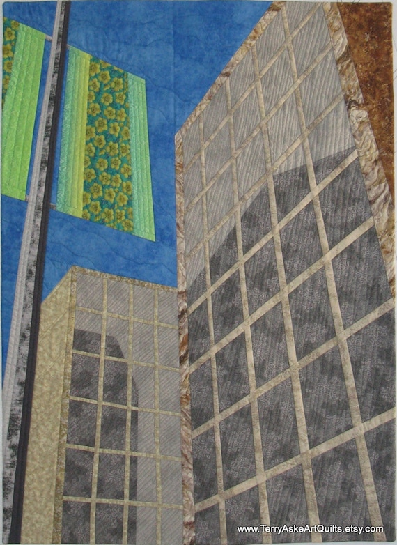 "Art Quilt - ""Looking Up"", a Textile Perspective View of City Buildings"