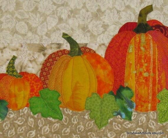 Quilt Wall Hanging - Autumn Pumpkins -  Halloween Thanksgiving