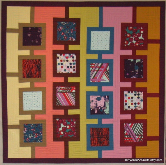 Modern Art Quilt Wall Hanging - Frames - 46.5 x 46.5 inches