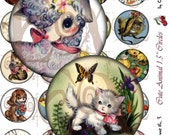 Cute Animals, 1.5 Inch Circles for Charms, Pendants, Buttons, Scrapbooking and Jewelry - Sheet No. 3, Instant Download