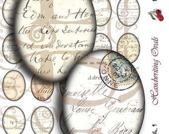 Vintage Handwriting (1), postcards, letters, 40x30mm ovals for charms, pendant, buttons, scrapbook and more Digital Collage - Sheet No. 1