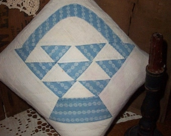 Antique Quilt Pillow,Early  Blues, Basket Pattern