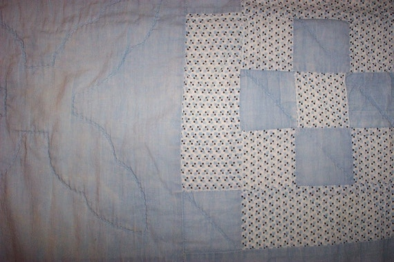 Vintage Cutter Quilt Piece,Soft Faded Blues of Yesterday