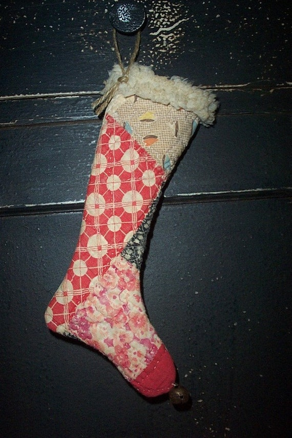 Primitive Antique Quilt Christmas Stocking Ornament