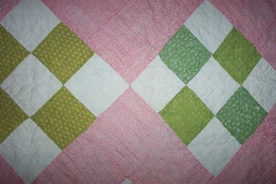 Vintage Cutter Quilt Piece ,Double Pink,Green,Easter