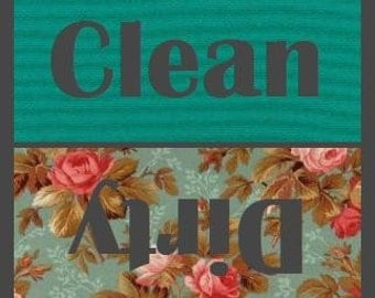 Mint Green Rose Clean/Dirty Dishwasher Magnet