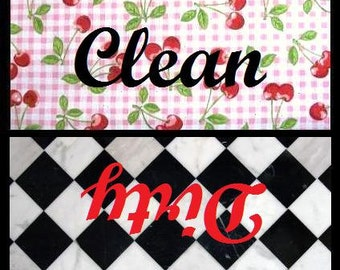 Red Cherry and Black Checkered Clean/Dirty Dishwasher Magnet