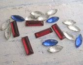 Vintage Rhinestone Mix in Red, Clear and Blue
