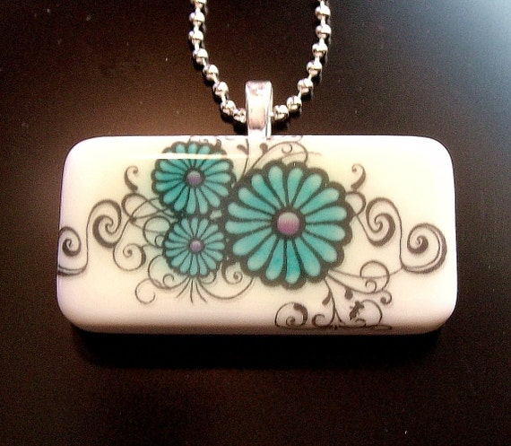Scrolled Teal Flower Domino Pendant