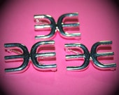 Vintage 3 Silver Plated Art Deco Double E Pin Brooches GL8