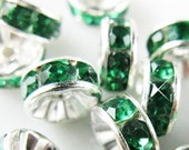 Vintage Lot of 10 Silver Plated Emerald Green Colored Crystal 9mm Spacer Beads GR8