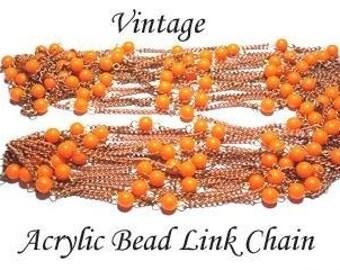 Vintage 5 Feet Acrylic Orange Beaded Chain AM5