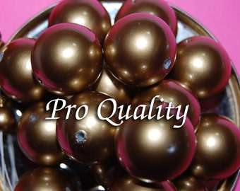 Vintage 4 Shiny Gold Pearl Beads 21MM  K2R
