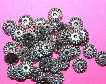 Vintage 24 Antique Silver Plated Spacer Beads  9X2MM K2R