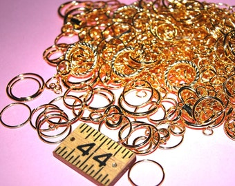 Vintage Lot of 1 oz. (approximately 80-100 jump rings) of Gold Plated Jump Rings 20MM-5MM  BR3