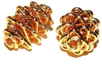 Wholesale 12 Gold Plated Wire Pinecone Beads 22X15 MM AL5