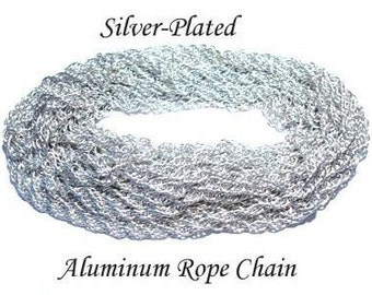 Vintage 5 Feet Gorgeous Silver Plated Aluminum Rope Chain   AR3