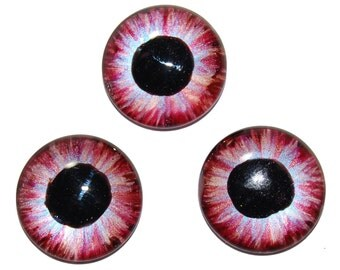 Exciting Lot of 3 Rose and Sky Blue Hand Painted Eye Irises AR5
