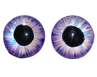 Wonderfully Playful Lot of 2 Lavender, Aqua and Silver Hand Painted Eye Irises AR5
